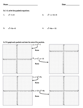 Solving Quadratic Equations Algebraically and Graphically Worksheet