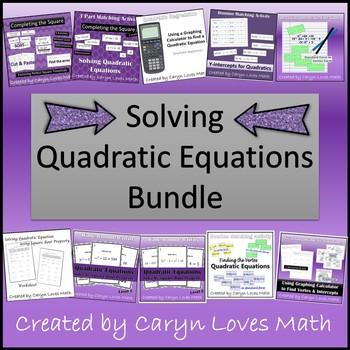 Solving Quadratic Equations Bundle~Completing the Square~Calculator