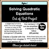 Solving Quadratic Equations Choice Board Project
