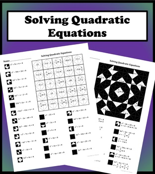 Solving Quadratic Equations Color Worksheet