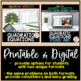 Solving Quadratic Equations Coloring Activity