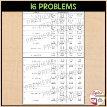 Solving Quadratic Equations Coloring Activity by Algebra ...