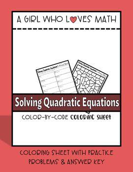Solving Quadratic Equations Coloring Sheet