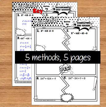 Solving Quadratic Equations No Prep Comic Book FUN Notes Practice