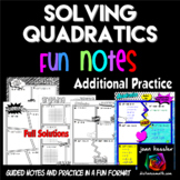 Solving Quadratic Equations No Prep Comic Book FUN Notes Practice