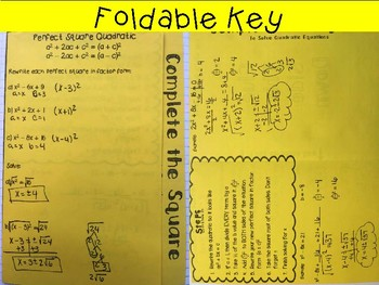 Solving Quadratic Equations-Complete the Square:Foldable,INB, Practice, Exit
