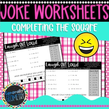 Solving Quadratic Equations: Completing the Square-2 Joke Worksheets,  Algebra 1