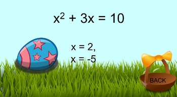 Solving Quadratic Equations-Completing the Square PowerPoint Game-Algebra Easter