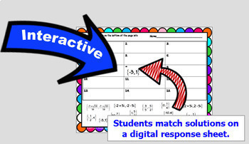 Solving Quadratic Equations Digital Task Cards and Matching with GOOGLE Slides