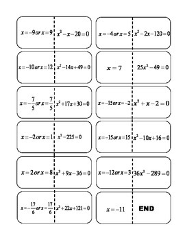 Solving Quadratic Equations Dominos
