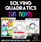 Solving Quadratic Equations FUN Notes Doodle Pages