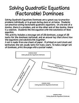 Solving Quadratic Equations - Factorable - Dominoes - PP