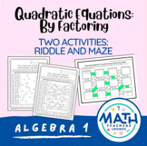 Solving Quadratic Equations (Factoring): Line Puzzle Activity