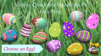 Solving Quadratic Equations - Factoring PowerPoint Game-Algebra Interactive Game