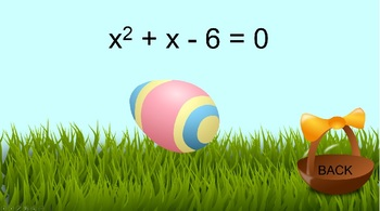Solving Quadratic Equations - Factoring PowerPoint Game-Algebra Easter Math