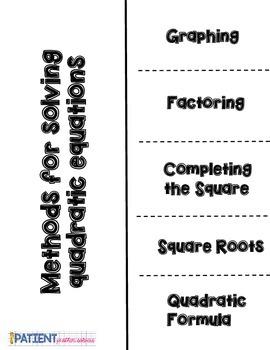 Solving Quadratic Equations Flipbook for ISN