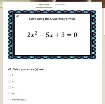 Solving Quadratic Equations Google Form Bundle (5 Forms & Interactive Videos!)