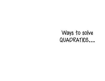 Solving Quadratic Equations Graphic Organizer