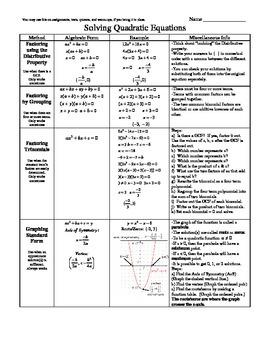 Solving Quadratic Equations Handout pdf version