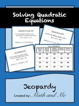 Solving Quadratic Equations Jeopardy