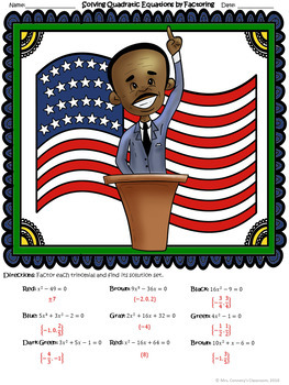 Black History Month MLK | Solving Quadratic Equations | Color by Number