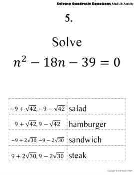 Solving Quadratic Equations Mad Lib Activity