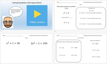 Solving Quadratic Equations (Mixed Methods) Task Cards & Video Lessons!