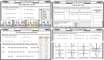 Solving Quadratic Equations Mystery VALUE SET