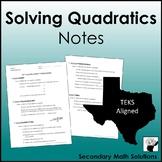 Solving Quadratics Notes (A8A)
