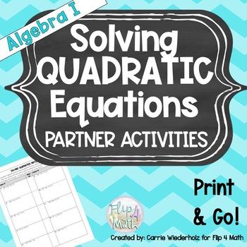 Solving Quadratic Equations Partner Match Up