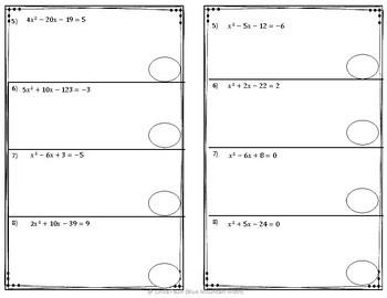 Solving Quadratic Equations Partner Practice