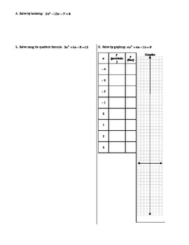 Solving Quadratic Equations Practice Spring 2014 (Editable)