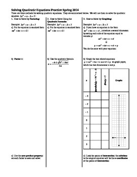 Solving Quadratic Equations Practice Spring 2014 (Editable)