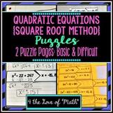 Solving Quadratic Equations Puzzles