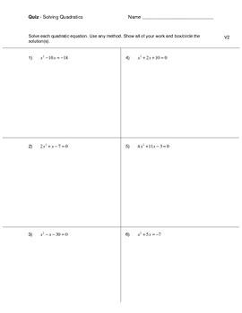 Solving Quadratic Equations Quiz (3 versions)