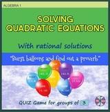"Solving Quadratic Equations - ""Balloons"" Quiz Game for Gro"