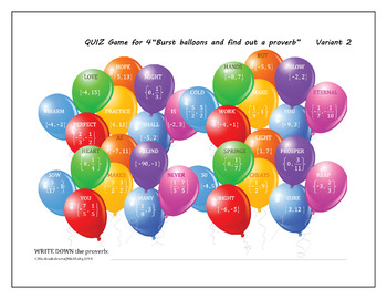 """Solving Quadratic Equations """"Balloon Quiz Game"""" for groups of 4"""