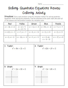 Solving Quadratic Equations Review Coloring Activity
