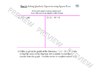 Solving Quadratic Equations Review Lesson 1 of 4