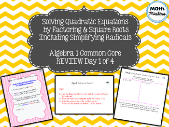 Solving Quadratic Equations Review Lesson 1 of 4