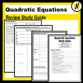 Solving Quadratic Equations Review Study Guide Graphic Organizers