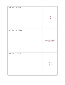 Solving Quadratic Equations - Review of Methods