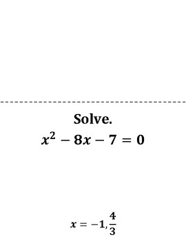 Solving Quadratic Equations Scavenger Hunt Game