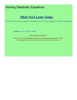Solving Quadratic Equations SmartBoard Lesson