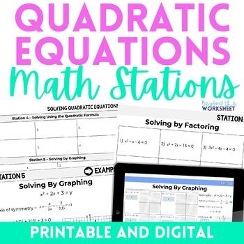 Quadratic Equations : Algebra Stations