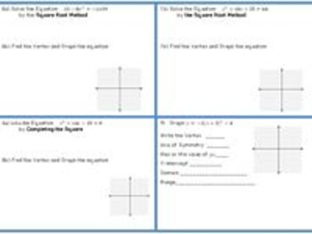 Quadratic Equations- Final Graphing and Solving by all Methods Study Guide