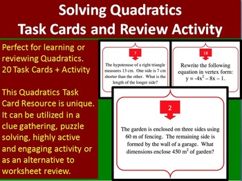 Solving Quadratic Equations - Task Cards and UNIQUE Activity {Common Core}