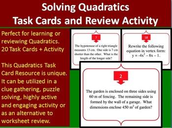 Solving Quadratic Equations - Task Cards and UNIQUE Activi