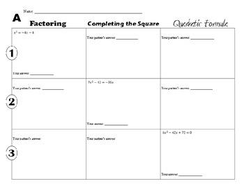 Solving Quadratic Equations Three Ways