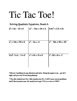 solving quadratic equations tic tac toe by michelle fries tpt. Black Bedroom Furniture Sets. Home Design Ideas
